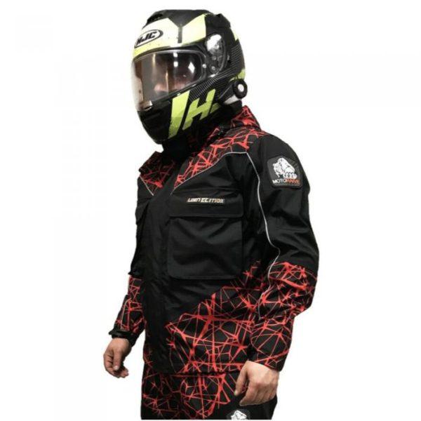 Куртка Motoraive RED NET цвет сер/крас/черн, с защитой, материал мембрана