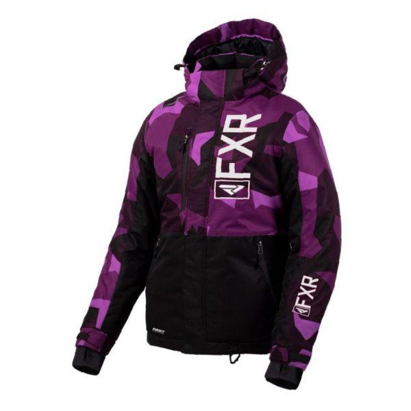 Куртка FXR Fresh с утеплителем, взрослые, жен.(Plum Camo/Black/White, 4)